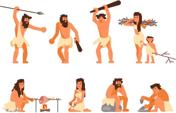 원시적인 석기 시대 사람들이 벡터 평면 아이콘 세트 - 고대의 stock illustrations