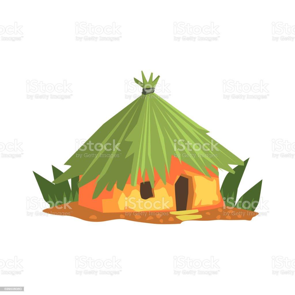 Primitive Tropical Building Jungle Landscape Element vector art illustration