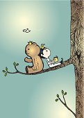 Prince and bear are reading on the tree