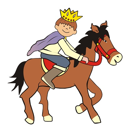 Prince and horse, color vector illustration