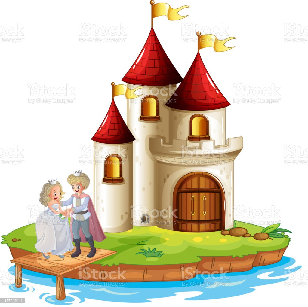 Prince and princess with a castle at the back royalty-free prince and princess with a castle at the back stock vector art & more images of backgrounds