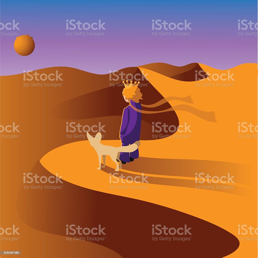Prince in the desert with a fox. vector art illustration