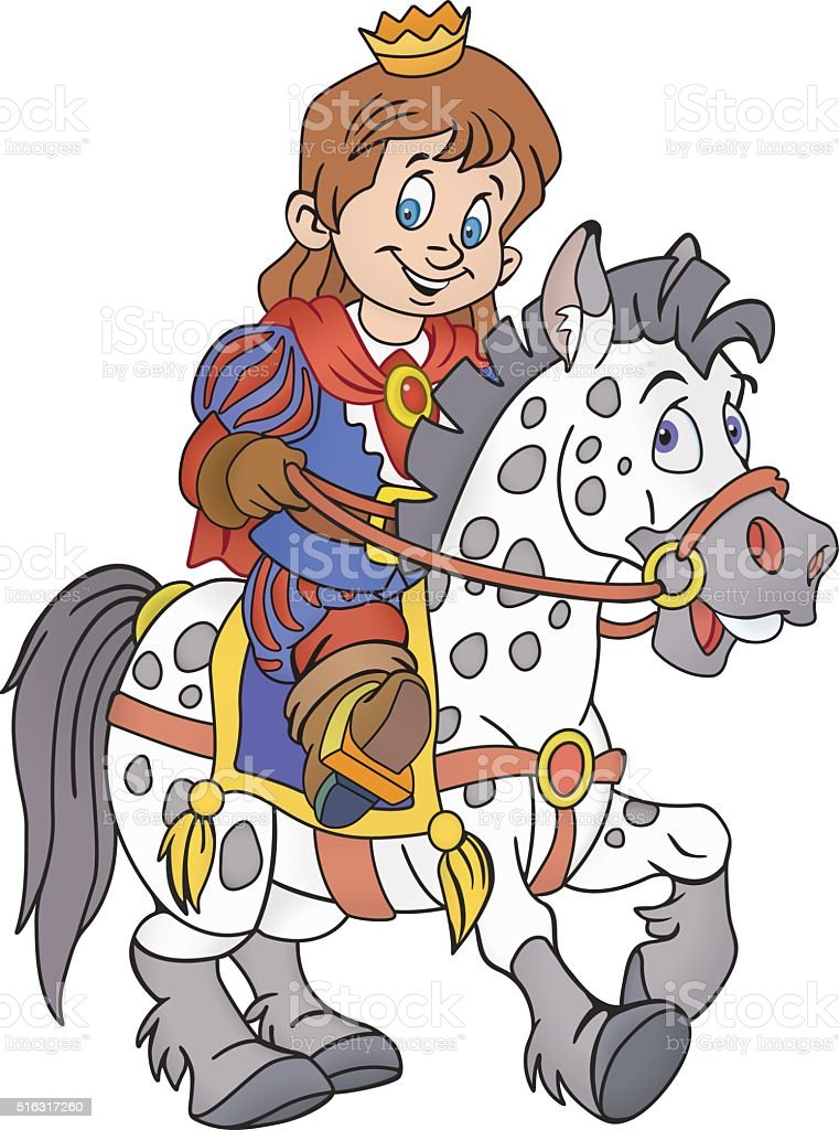Prince on the horse vector art illustration