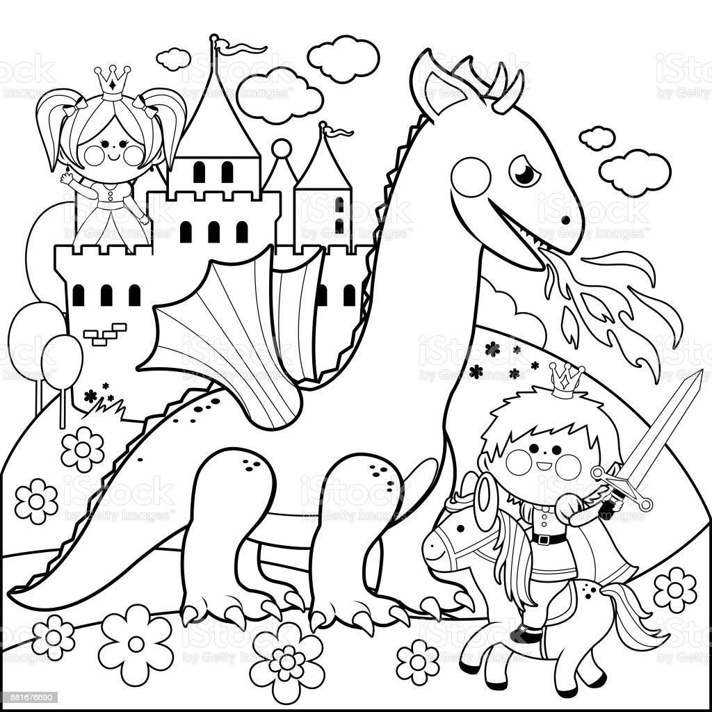 Prens Güzel Bir Prenses Kötü Ejderhadan Korumak Siyah Ve Beyaz Kitap