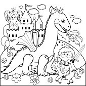 Prince protecting a beautiful princess from the evil dragon. Black and white coloring book page