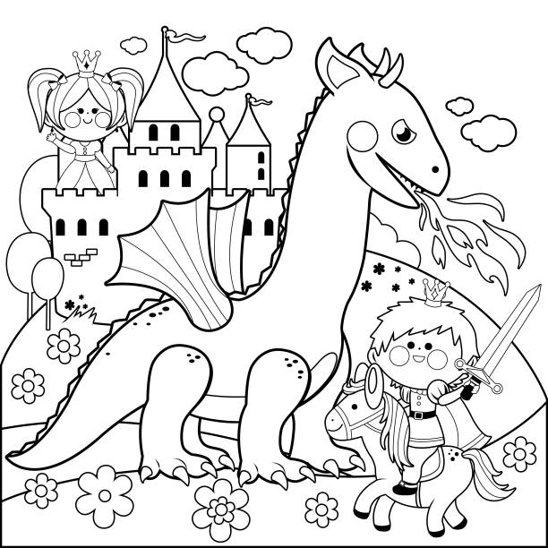 악한 드래곤에서 아름 다운 공주를 보호 하는 왕자. 도 서 페이지를 색칠 하는 흑인과 백인 - 색칠하기 stock illustrations