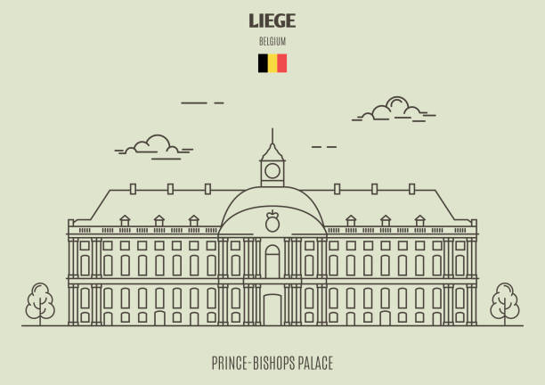 Prince-Bishops Palace in Liege, Belgium. Landmark icon Prince-Bishops Palace in Liege, Belgium. Landmark icon in linear style lulik stock illustrations
