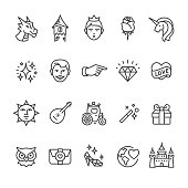 20 Outline style black and white icons / Set #46\nPixel Perfect Principle - all the icons are designed in 64x64px grid, outline stroke 2px.\n\nCONTENT BY ROWS\n\nFirst row of icons contains:\nDragon, Tower, Princess, Rose, Unicorn;\n\nSecond row contains:\nStardust, Prince Groom, Victorian Hand Pointer, Diamond, Heart and Love;\n\nThird row contains:\nVictorian Sun Face, Mandolin and Serenade, Carriage, Magic Wand, Gift box; \n\nFourth row contains:\nWise Owl, Love letter, Glass slipper, World peace, Castle.\n\nComplete Unico PRO collection - https://www.istockphoto.com/collaboration/boards/dB-NuEl7GUGbQYmVq9IlDg
