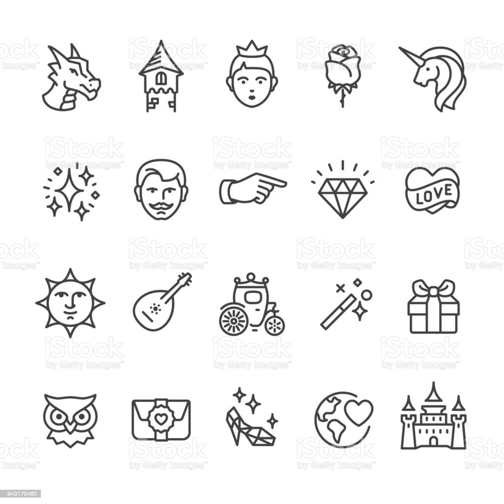 Princess and Fairy Tale - outline vector icons vector art illustration