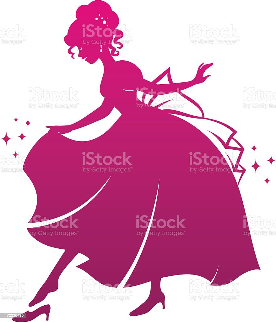 princess and her shoe vector art illustration