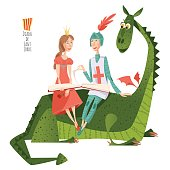 Princess and knight read a book sitting on a back of a dragon.