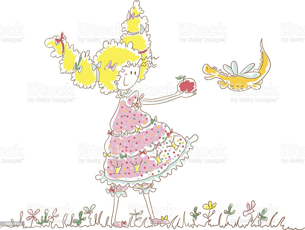 Princess and little dragon royalty-free stock vector art