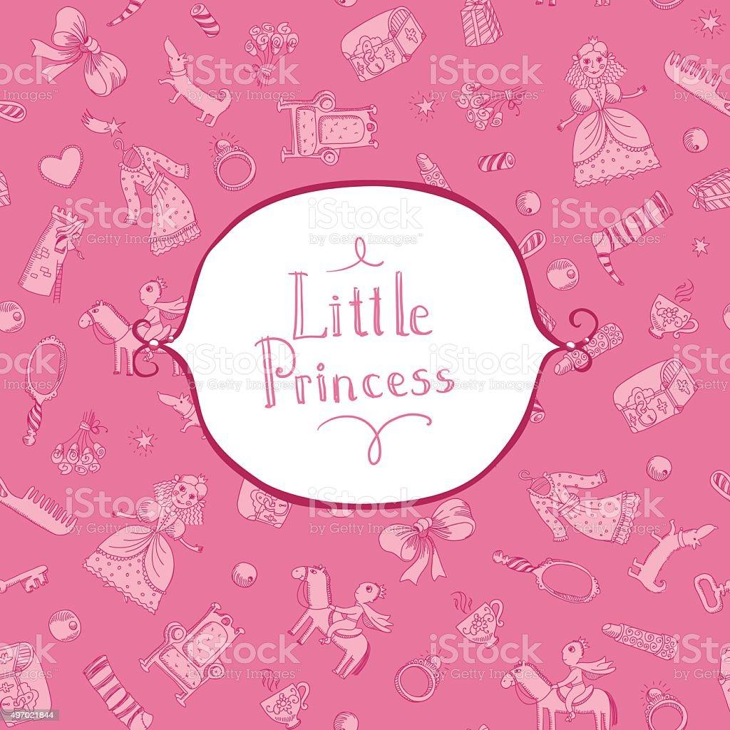 princess background with frame vector art illustration