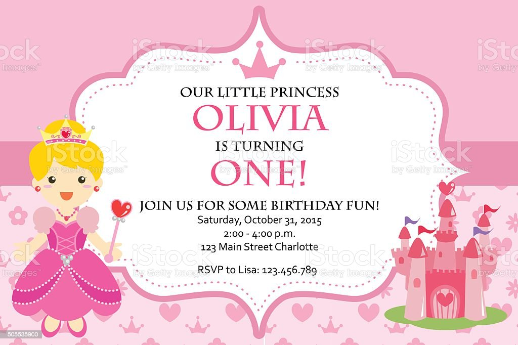 Princess Birthday Party Invitation Stock Vector Art More Images of