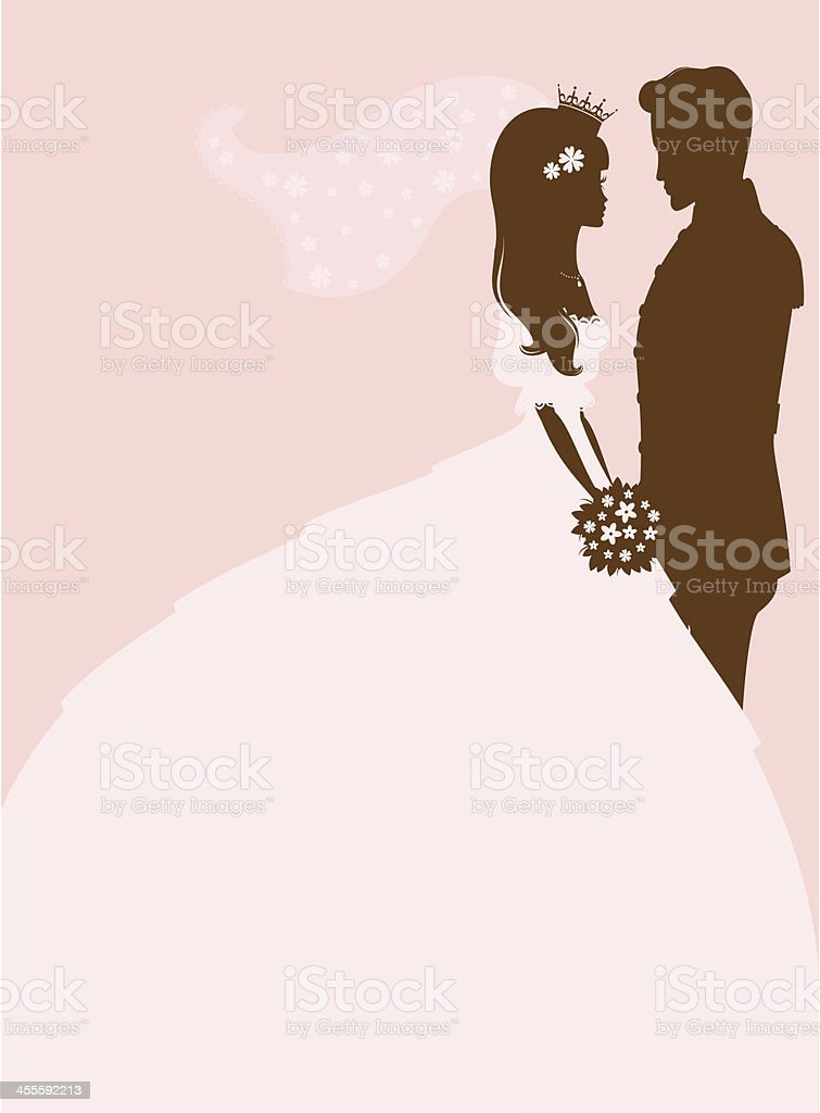 Princess Bride and Groom vector art illustration