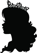 The silhouette of a beautiful princess/queen/royalty, wearing an intricate crown. Crown is grouped separately for easy separation in Ai.