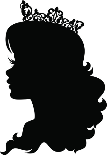 princess cameo silhouette wearing crown stock illustration