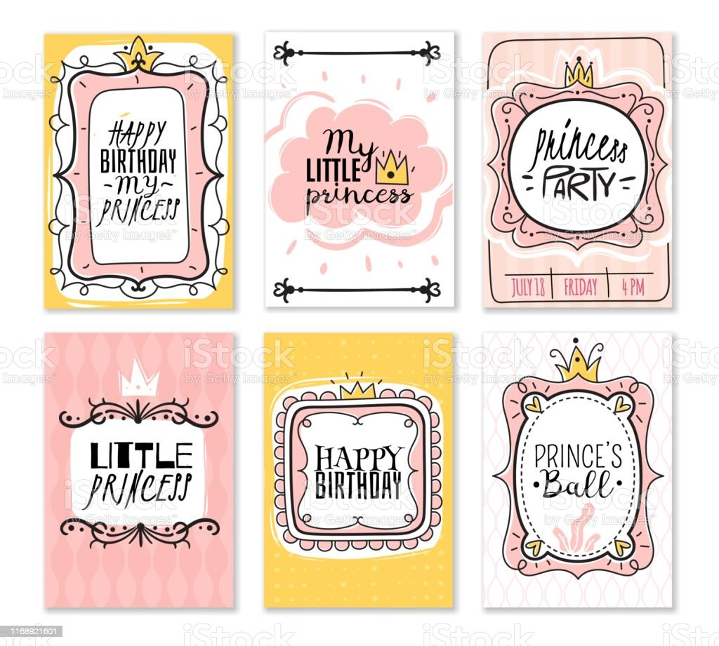 Princess Cards Vintage Cute Pink Frame With Gold Crown Girl