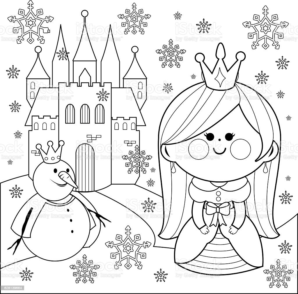 Princess Castle And A Snowman Coloring Book Page Stock Illustration Download Image Now Istock