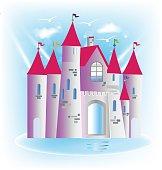 Princess castle fairy tale icon art design vector image template