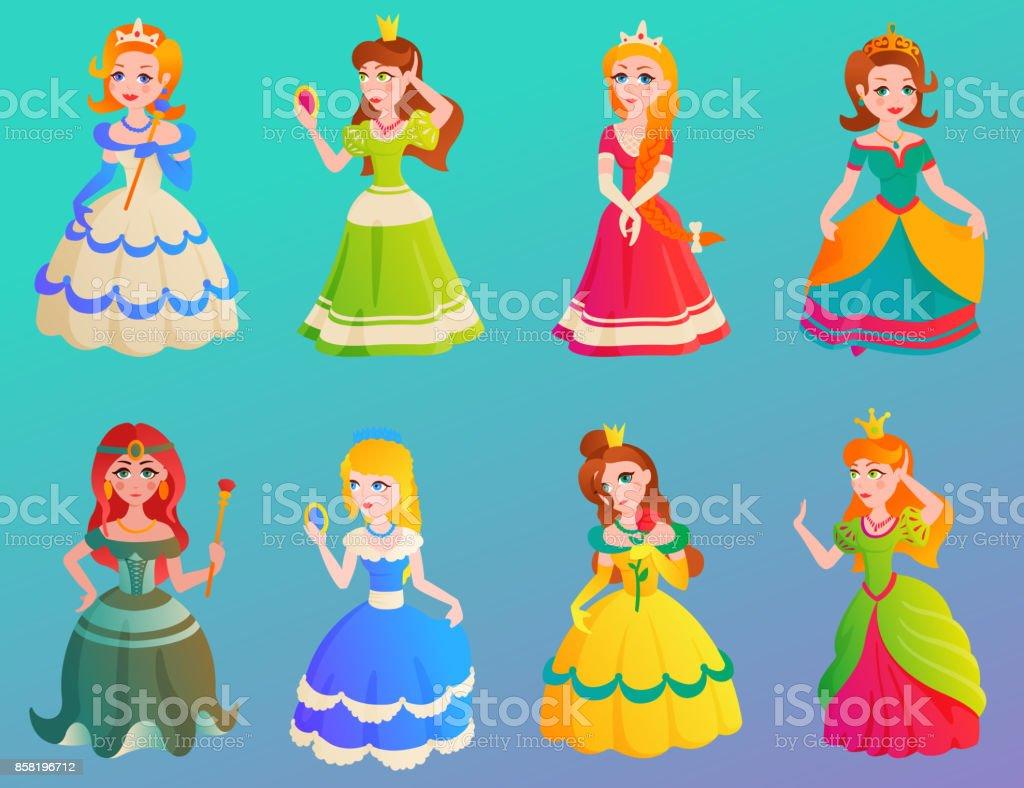 姫キャラかわいい Adorble 女の子別のドレス ベクトル イラスト