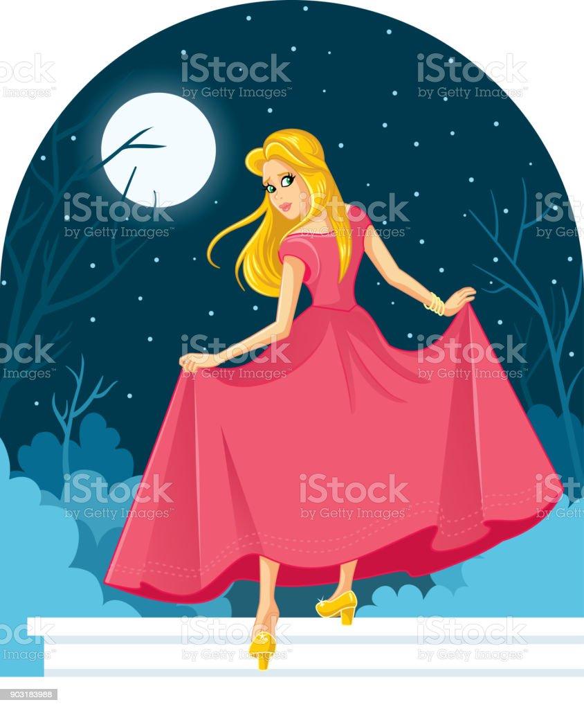 Prinzessin Cinderella verlieren ihren Schuh auf der Ball-Abbildung – Vektorgrafik