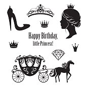 Princess Cinderella set collections. Crowns, diadem, carriage, woman profile, high-heeled shoe, text in black color. Vector illustration. Isolated on white background. For birthday card design