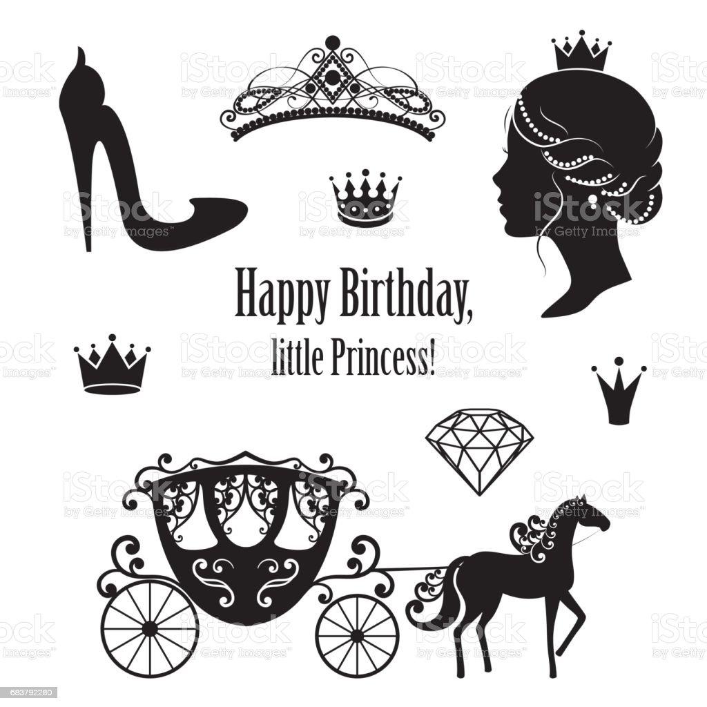 Prinzessin Cinderella set Sammlungen. – Vektorgrafik