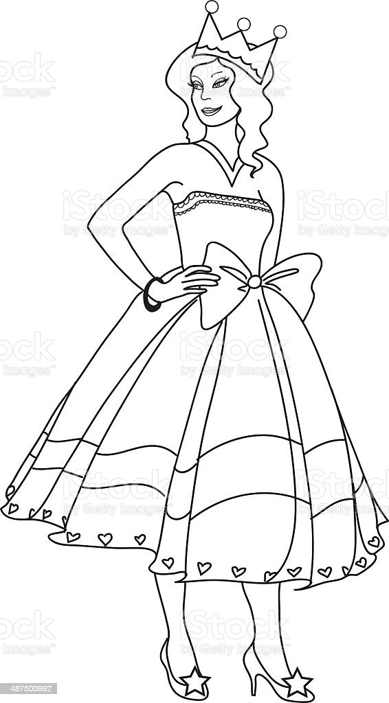 - Princess Coloring Page For Kids Stock Illustration - Download Image Now -  IStock