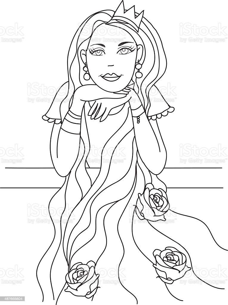 Ilustración de Página Para Colorear Princesa Para Niños y más banco ...