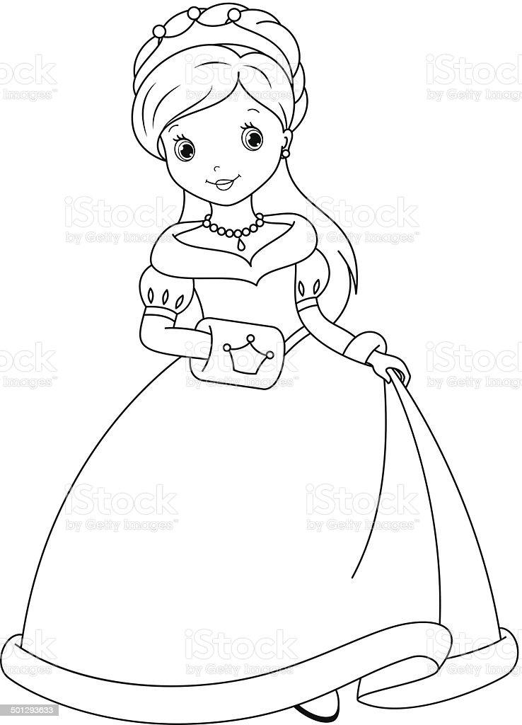 Ilustración de Página Para Colorear Princesa y más banco de imágenes ...
