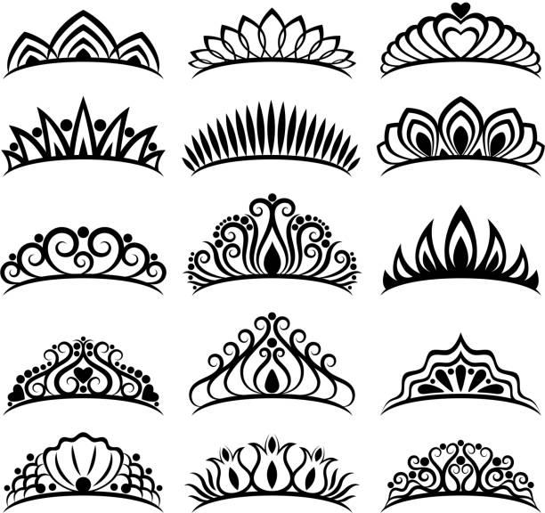 Princess crowns set. Beautiful diadems Princess crowns set. Beautiful wedding diadems. Royal style vector illustration. diademe stock illustrations