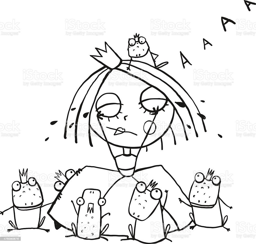 Princess Crying And Many Prince Frogs Coloring Page Outline Drawing ...