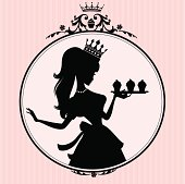 A cute princess with cupcakes in a decorative frame.