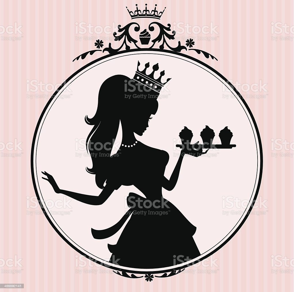 Princess Cupcake Frame vector art illustration