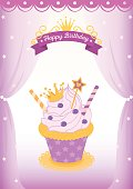 Illustration vector of cute princess cupcake decorated in the room with curtain on purple background design for Happy Birthday card.