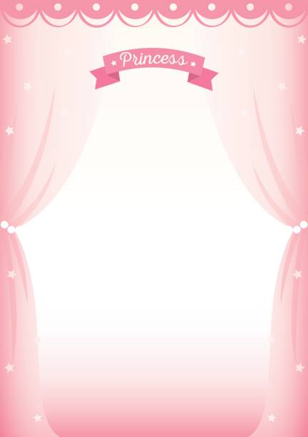 princess curtain frame template Illustration vector of cute princess room decorated with curtain on pink background design for frame and template. bathroom borders stock illustrations