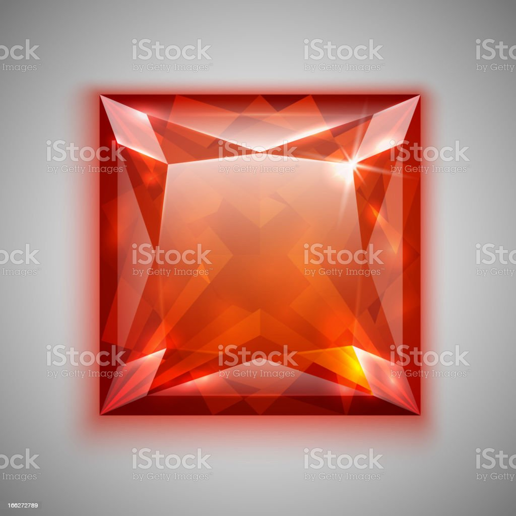 Princess cut ruby royalty-free stock vector art