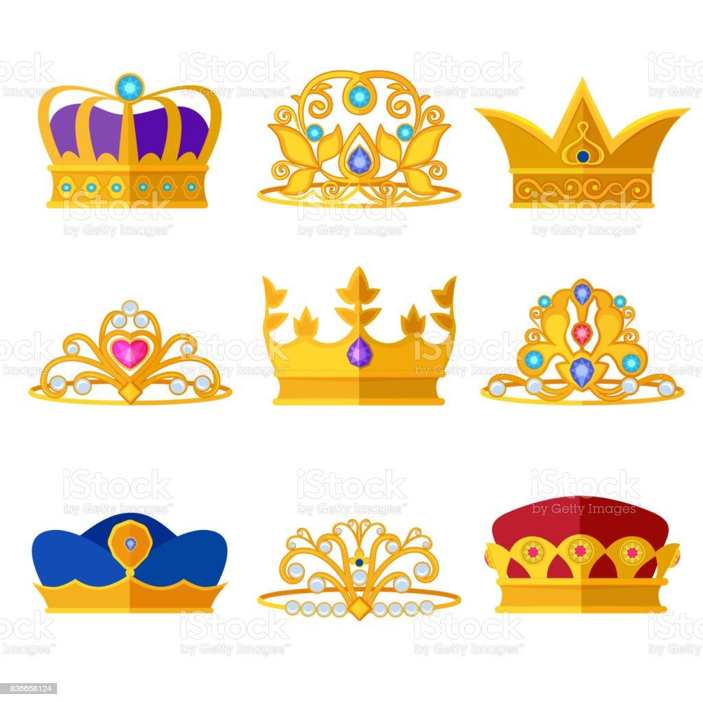 Diademas de princesa y coronas de oro de los Reyes y reinas. Vector set aislar en blanco - ilustración de arte vectorial