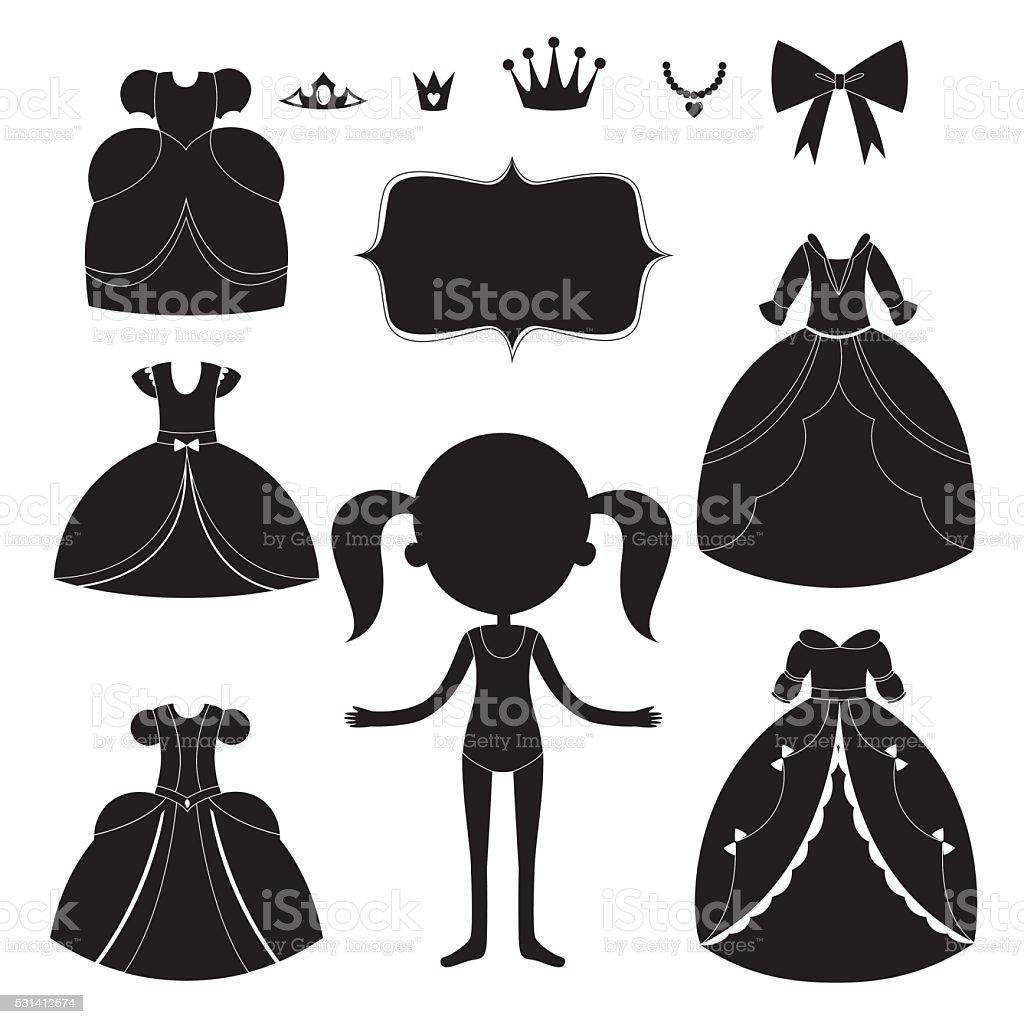 Robe De Princesse Silhouettes Ensemble Dessin Animé Noir Et