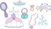 Princess Dress Up Vector Elements