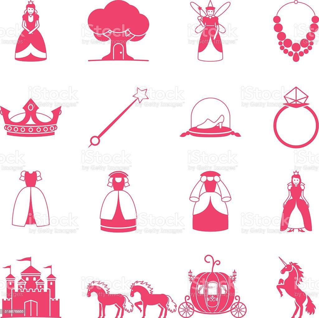 Prinzessin märchenhaften Symbol-set – Vektorgrafik