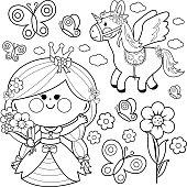 Princess fairytale set coloring page