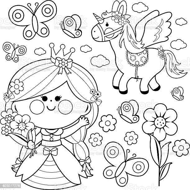 princess fairytale set coloring page vector id