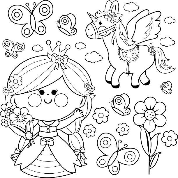 princess fairytale set coloring page - unicorn line drawings stock illustrations, clip art, cartoons, & icons