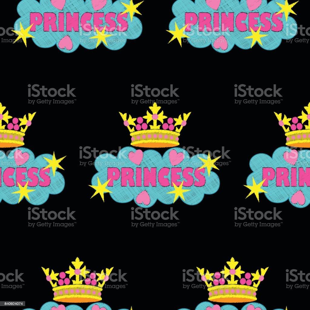 Moda Princesa Bordado De Patrones Sin Fisuras - Arte vectorial de ...