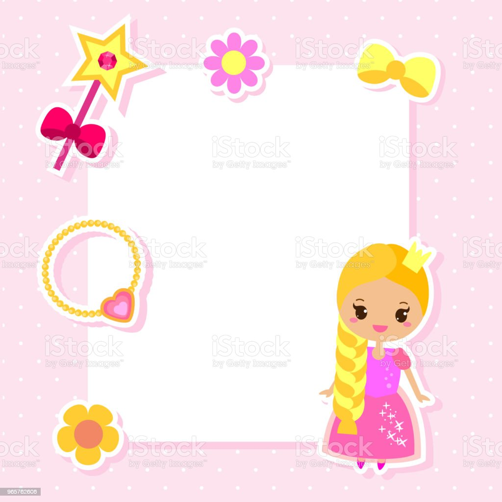 Princess frame design template for photos, children diplomas, kids certificate, invitations, scrapbook and etc - Векторная графика Альбом на память роялти-фри