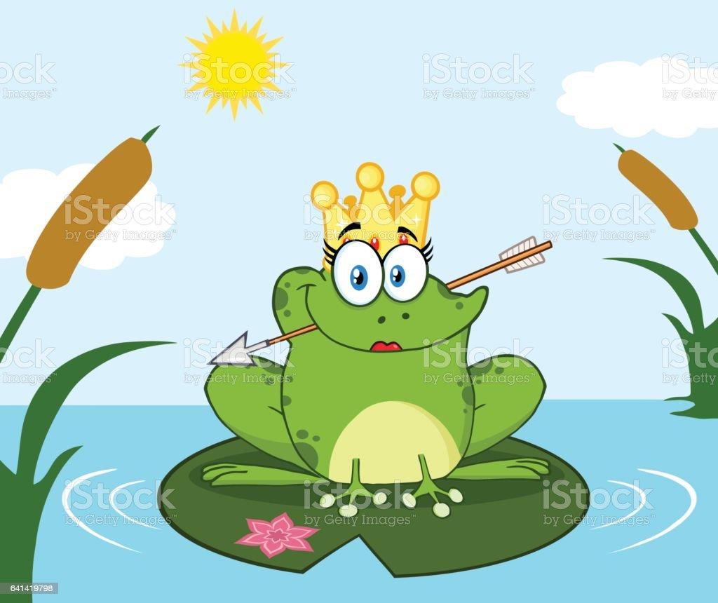 princess frog cartoon mascot character with crown and arrow