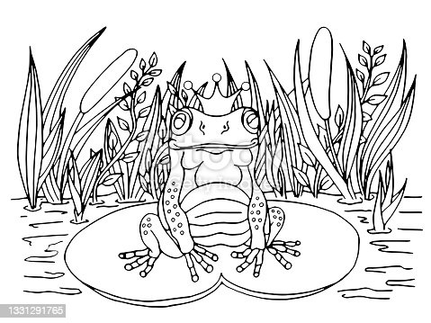 istock Princess frog coloring book. 1331291765