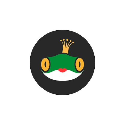 Princess frog logo fairytale cartoon character in crown and with red lips, funny kids print for clothes or cute sticker.